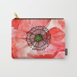 Pink Poppy Flower Carry-All Pouch