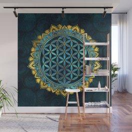 Flower of life gold an blue texture  glass Wall Mural