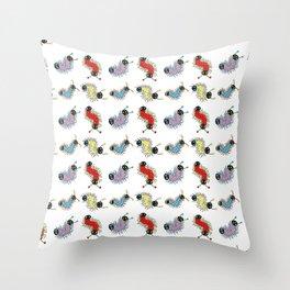 Wiggily Cartoon Colourful Caterpillars Throw Pillow