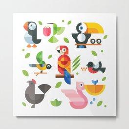 Birds in geometry Metal Print