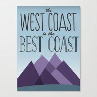 west coast Canvas Prints featuring West Coast by Kyramari
