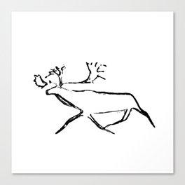 Ewenk deer carved on wood Canvas Print