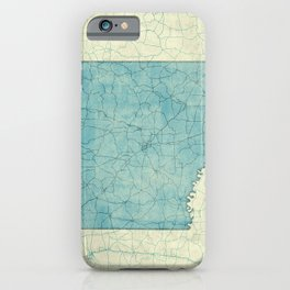 Arkansas State Map Blue Vintage iPhone Case
