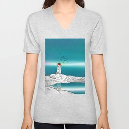 Peggy's Point Lighthouse Unisex V-Neck
