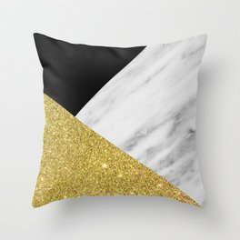 Marble & Gold Geometry Throw Pillow
