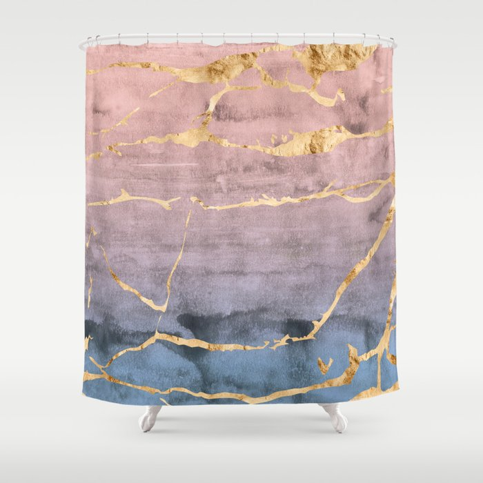 Watercolor Gradient Gold Foil Shower Curtain