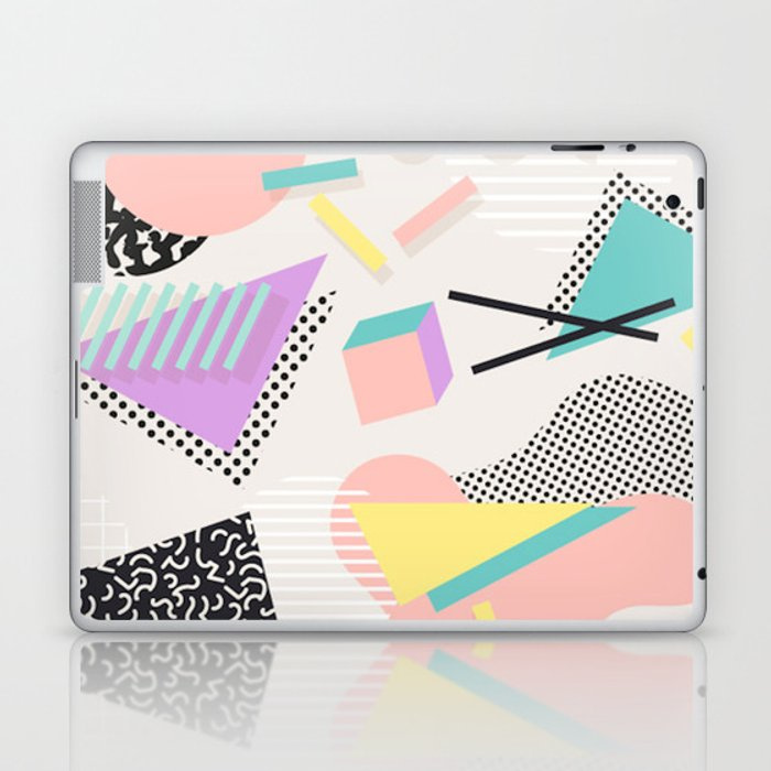 80s / 90s RETRO ABSTRACT PASTEL SHAPE PATTERN Laptop & iPad Skin by  patternfactory