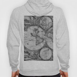 Vintage World Map print from 1689 - black and white Hoody