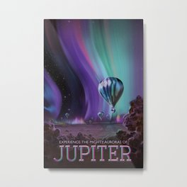 NASA Retro Space Travel Poster #7 Juniper Metal Print