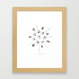 wildflower mandala... purple violets, guinea fowl feathers Framed Art Print