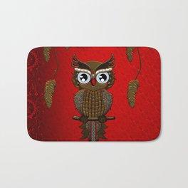 Wonderful steampunk owl on red background Bath Mat