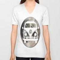 volkswagon V-neck T-shirts featuring Moon Wagon by Isaak_Rodriguez