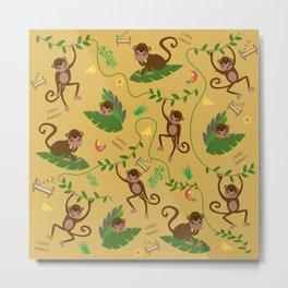 jumping cheeky monkeys yellow 03 Metal Print