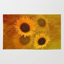 Satin filled Sunflowers Rug