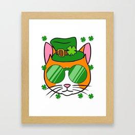 Irish Cat - St. Patricks Day Shamrock Hat Framed Art Print