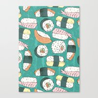 sushi Canvas Prints featuring Sushi by Abi Woodhouse