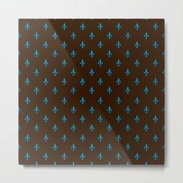 Blue & Brown Fleur-de-Lis Pattern Metal Print