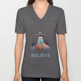 Believe Cat UFO Alien Gift Unisex V-Neck