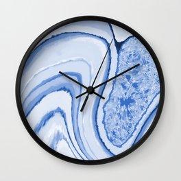 Blue Crystal Watercolor Effect Design Wall Clock