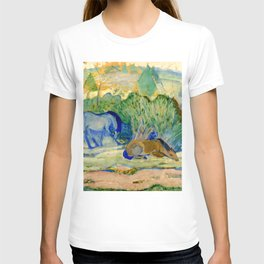 """Franz Marc """"Horses at Pasture (also known as Horses in a Landscape)"""" T-shirt"""