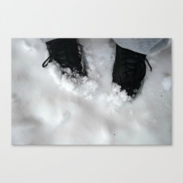 Black shoes in the snow Canvas Print