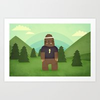 sasquatch Art Prints featuring sasquatch  by Pope Saint Victor