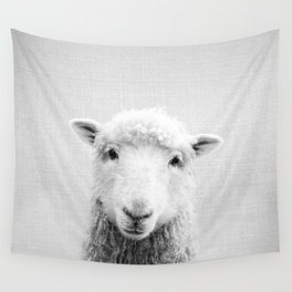 Sheep - Black & White Wall Tapestry