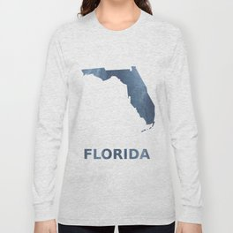 Florida map outline Dark blue clouded watercolor Long Sleeve T-shirt