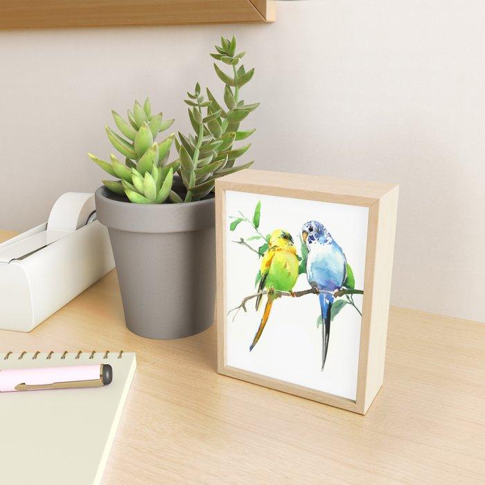Budgies, Animal art, love, two birds bird artwork, bird pet Framed Mini Art Print