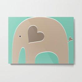 Turquoise Safari Elephant 2 Metal Print