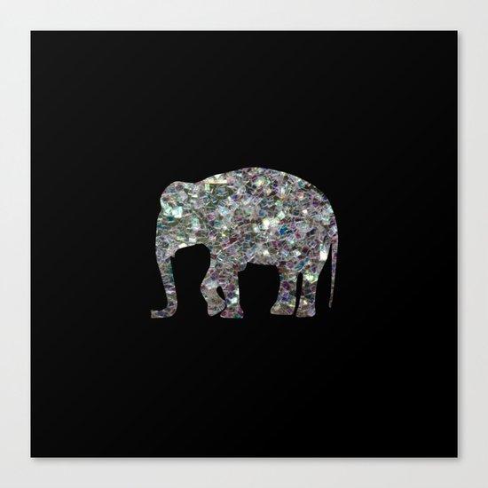 Sparkly colourful silver mosaic Elephant Canvas Print