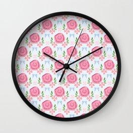 Rose pattern - Pink Wall Clock