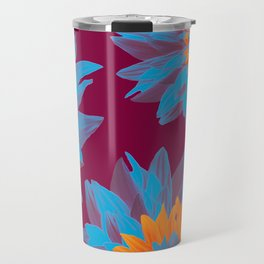 Lovely Blue Flowers Burgundy Background Boho Style #decor #society6 #buyart Travel Mug