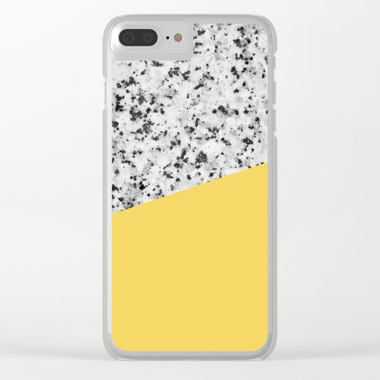 Granite and primrose yellow color Clear iPhone Case