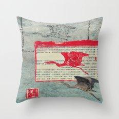 Blue Heron Collage Throw Pillow