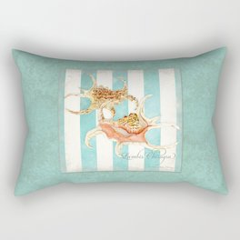 Conch Shell Striped Shabby Beach Cottage Watercolor Illustration Rectangular Pillow