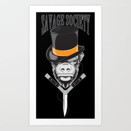 Savage Society: Monocle Monkey Art Print