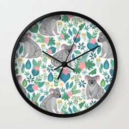 Cute gray koalas with ornaments, tropical flowers and leaves. Seamless tropical pattern. Wall Clock