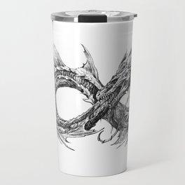 Ouroboros mythical snake on transparent background | Pencil Art, Black and White Travel Mug