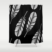 feathers Shower Curtains featuring Feathers by Norman Duenas
