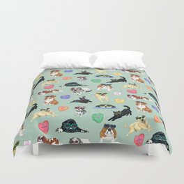 Valentine's Day Candy Hearts Puppy Love - Mint Green Duvet Cover