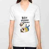 pug V-neck T-shirts featuring PUG by Jarvis Glasses