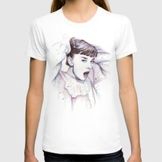 Audrey Hepburn Watercolor Actress Breakfast at Tiffanys MEDIUM Womens Fitted Tee White