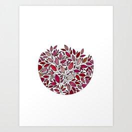 Red Leaf - Floral Illustration *P07 003 Art Print