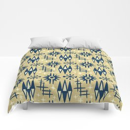 Mid Century Modern Atomic Space Age Pattern Gold Blue Comforters