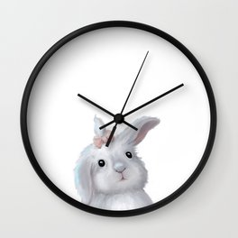 White Rabbit Girl isolated Wall Clock