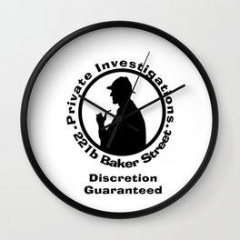 Sherlock Holmes Discretion Guaranteed Wall Clock