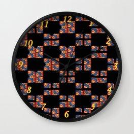 Flowers on black S04 Wall Clock