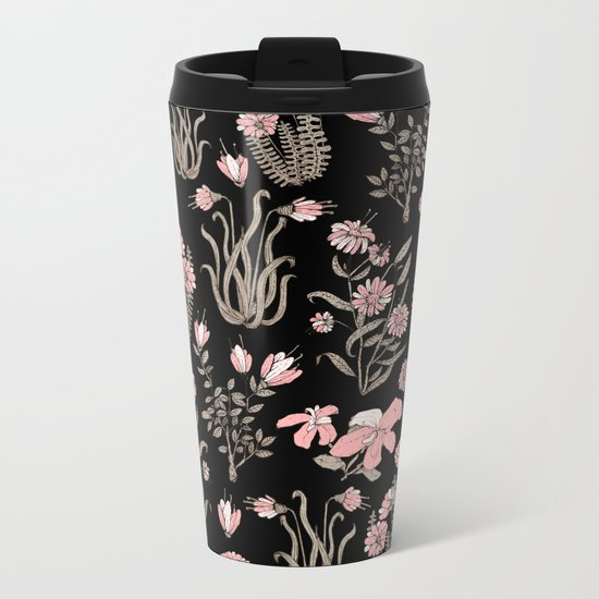 PINK FLOWER AT NIGTH Metal Travel Mug