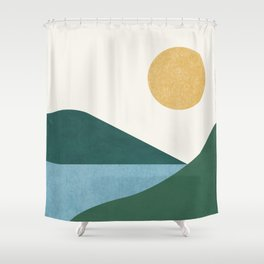 Sunny Lake - Abstract Landscape Shower Curtain